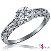 Vintage 0.98 Carat (0.58) Round Diamond Engagement Ring 14K White Gold G... - $1,385.21