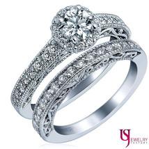 Round Diamond Wedding Bridal Band Set 14k Vintage Gold Halo Set 1.52ct G-SI1/SI2 - $3,335.31