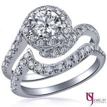 Natural Round Cut Diamond Wedding Swirl Band Set 14k White Gold 2.06 Carat E/SI1 - $3,909.51