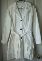 Pre-owned Xhilaration Women's Ruffle Belted Trench Coat White Size L - $24.74