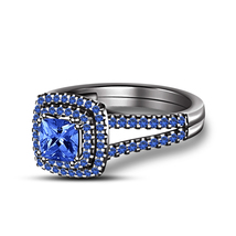 925 Silver Black Gold Plated Blue Sapphire Princess Cut Wedding Ring - $70.99