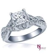 Twist 14k Gold Princess Cut 1.47 ct (1.02) Cathedral Set Diamond Engagem... - $2,739.53