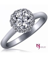 Round Cut Halo Diamond Engagement Ring Plain 14k Gold Band 0.83 Carat G-... - $1,691.91