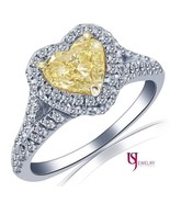 1.66 Ct Double Halo Fancy Yellow Heart  Shaped Diamond Engagement Ring 1... - $2,960.09
