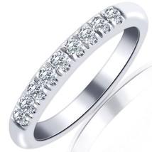 10K White Gold 0.30 ct Round Cut 9 Stone Diamond Wedding & Anniversary Band H-SI - $256.41
