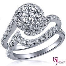 Natural Round Diamond Swirl Engagement Ring Wedding Set 14K Gold 1.77 Ct... - £2,224.06 GBP