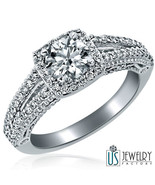Real Diamond Engagement Ring Round Cut 14k White Gold Jewelry 1 ct (0.45) F-SI1 - $1,790.91