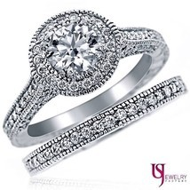 Natural Round Diamond Engagement Ring Wedding Band 14k Gold 2.11 Ct G/H-SI1 - £4,879.84 GBP