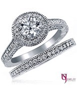 Natural Round Diamond Engagement Ring Wedding Band 14k Gold 2.11 Ct G/H-SI1 - £4,889.39 GBP