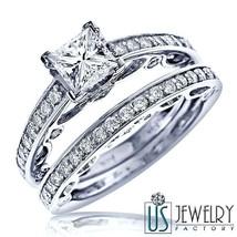 2.08 Carat Princess Diamond Bridal Engagement Wedding Ring Set 18k White Gold - $5,384.61