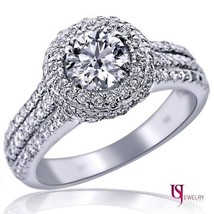 1.46 TCW Round Cut Double Halo Set Diamond Engagement Ring 14k White Gold Band - $3,137.31