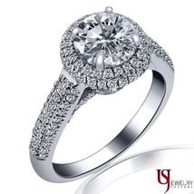 1.06 TCW Round Cut Halo Set Natural Diamond Engagement Ring 14k White Gold Band - $2,288.04