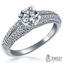 1.11 Carat (0.71) H Si3 Vintage Round Cut Diamond Engagement Ring 14 K White Gold - $1,530.69