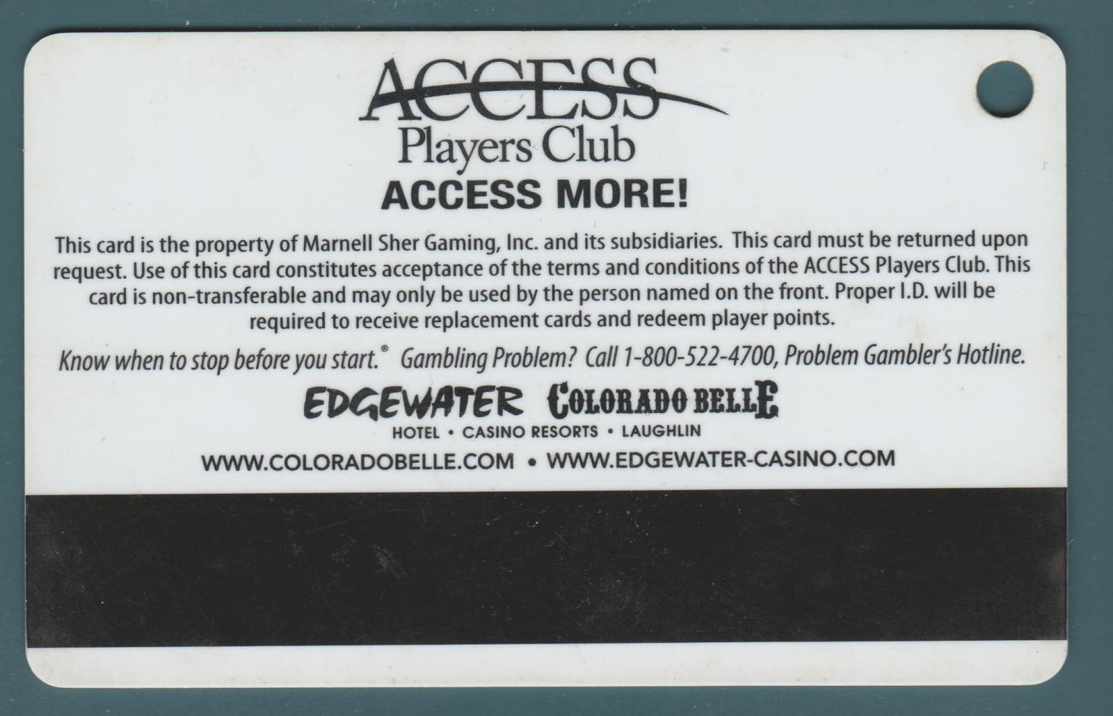 Casino Players Club Slot Card. Colorado Belle, Laughlin, NV. PC47.