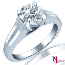 Solitaire 1.04 Carat F/VS2-SI1 Round Cut Diamond Engagement Ring 14k White Gold - $3,206.61