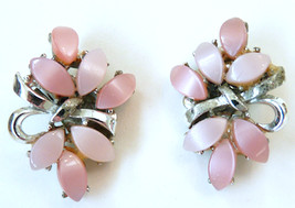 Vintage Coro pink moonglow Lucite leaves flowers bow silver tone clip ea... - $6.50