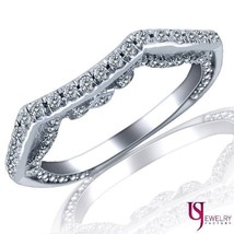 0.48 Carat Curved Matching Diamond Wedding Band 18k White Gold - £841.53 GBP