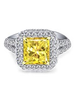 3.16 Carat Natural Fancy Yellow Princess Diamond Engagement Ring 18k Whi... - $4,751.99