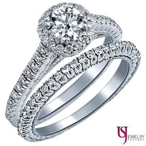 Round Cut Antique Collection Diamond Wedding Bridal Set 14k Gold 1.28ct F/VS2  - $2,919.51