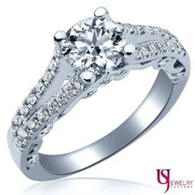 1.09 (0.53) Carat F-VS1 Round Diamond Engagement Ring Split Shank 14K Wh... - £1,275.92 GBP
