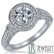2.09 ct (1.00) D/VS 100% Natural Round Excellent Cut Diamond Engagement Ring 18k - $7,285.41