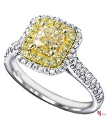 1.79ct Natural Fancy Yellow Cushion Cut Diamond Engagement Ring Double H... - $3,424.41