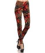 ICONOFLASH Women's Casual Full Length Velour Leggings (Plaid Red Patchwo... - $16.82