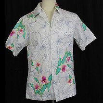 Hilo Hattie's Floral Hibiscus Camp Aloha Hawaiian Shirt 100% Cotton Size... - $23.36