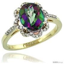 Size 7 - 14k Yellow Gold Diamond Halo Mystic Topaz Ring 1.65 Carat Oval Shape - $357.03