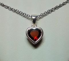 beautiful burgundy garnet heart pendant sterling silver - $49.95
