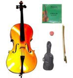 Primary image for Lucky Gifts 4/4 Size Yellow Cello,Bag,Bow+Rosin+Extra Strings for Replacement