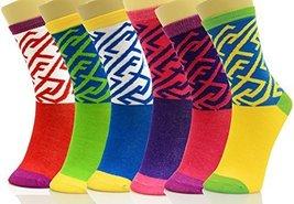 ICONOFLASH Unisex Printed Bundle Crew Socks, Assorted Colors, Packs of 6... - $12.86