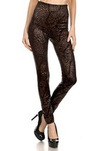 ICONOFLASH Women's Metallic Print Fleece Leggings (Subtle Bronze Leopard... - $17.81