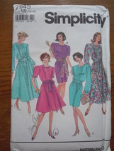 Simplicity Misses / Misses Petite Size10-16 Dress With Full or Slim Skir... - $4.99