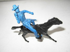 .Vintage, Blue Ranger with Trumpet and Black Horse Miniature - $3.75