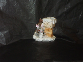 Vintage Japan UCAGCO Sugar Coated Skiing Bunny by Mailbox Planter with S... - $9.99