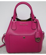 Michael Kors Greenwich Large Leather Greb Bag Satchel Tote Purse Fuschia New NWT - $186.22