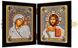Bead Embroidery Kit Orthodox Icon Kazan Mother of God and Christ - $42.59