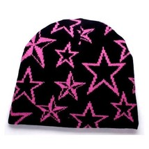 NEW PUNK ROCK WINTER SKI SNOWBOARDING HAT CAP ~ BLACK W/ PINK STARS BEAN... - $5.90 CAD