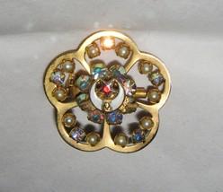 "VTG Eastern Star AB Rhinestone stacked gold metal enamel 1.25"" floral pi... - $29.69"
