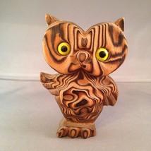 Vintage WONY Japan Carved Wood Owl Glass Eyes C... - $38.69