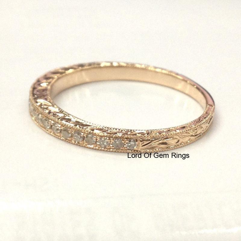 Matching Wedding Band Diamond Eternity Ring 14K Rose Gold Filigree Anniversar