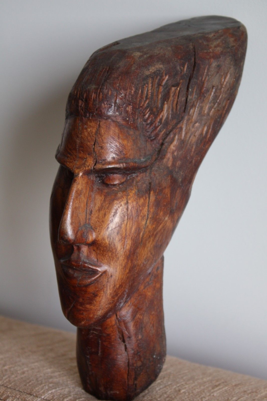 """Antique Hard and Heavy Wood Carving Man Head Wall Hanging Signed Wooden Art 12"""""""