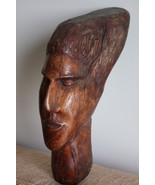 Antique Hard and Heavy Wood Carving Man Head Wall Hanging Signed Wooden ... - $148.49