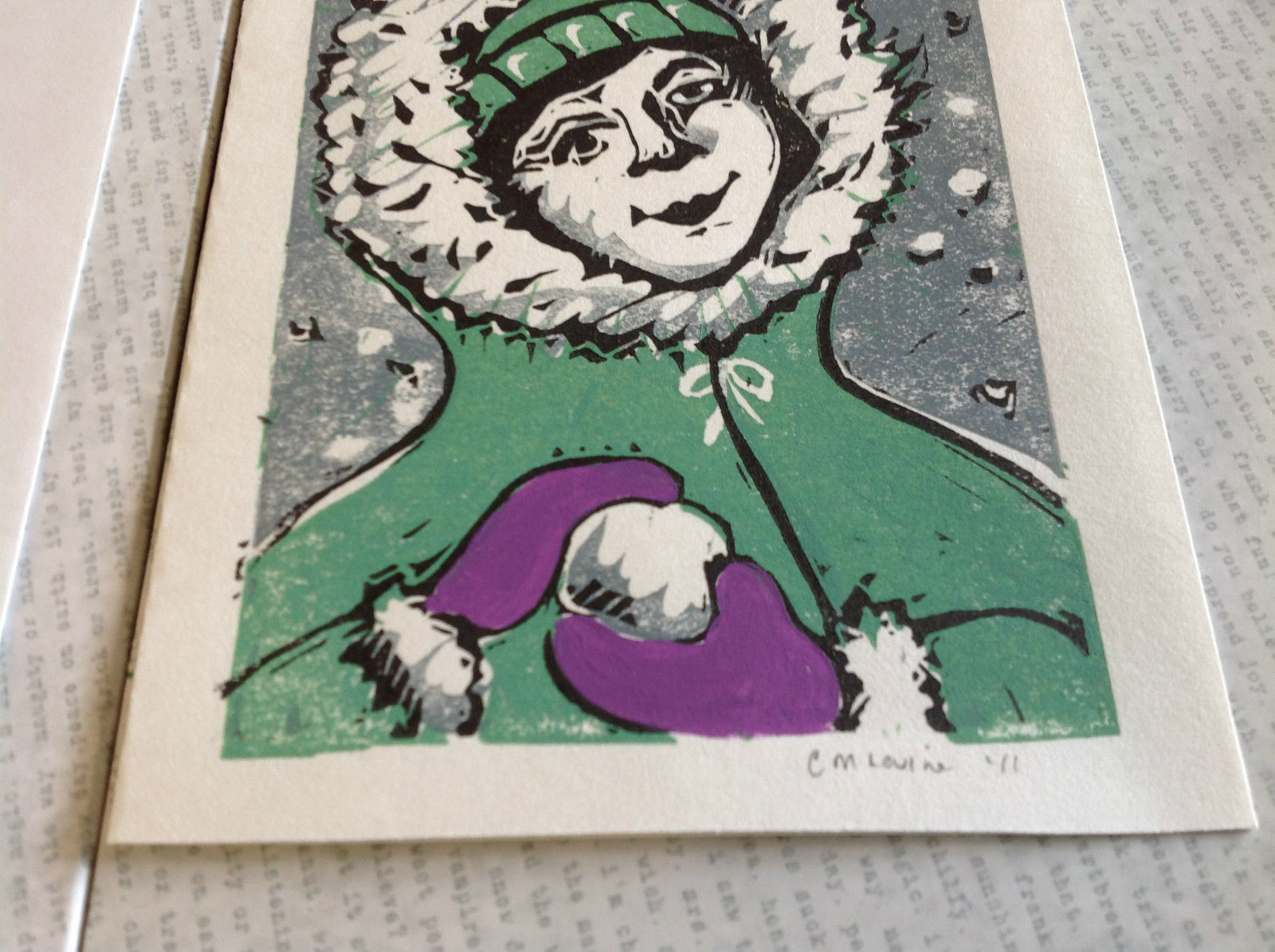 Kid with Snowball Original Wood Block Handmade Greeting Card with Envelope Green