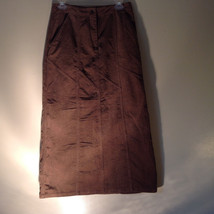 Brown Maxi Skirt by Christopher and Banks Stretch Front Zipper 2 Pockets Size 4