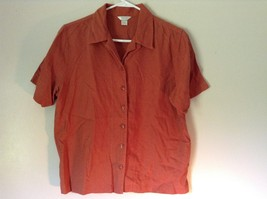Burnt Orange Short Sleeve Collared Button Up Blouse Christopher and Banks Size M