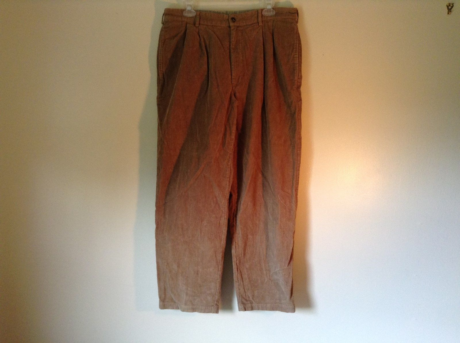 Brown Corduroy L L Bean Casual Pleated Pants Size 36 Front and Back Pockets