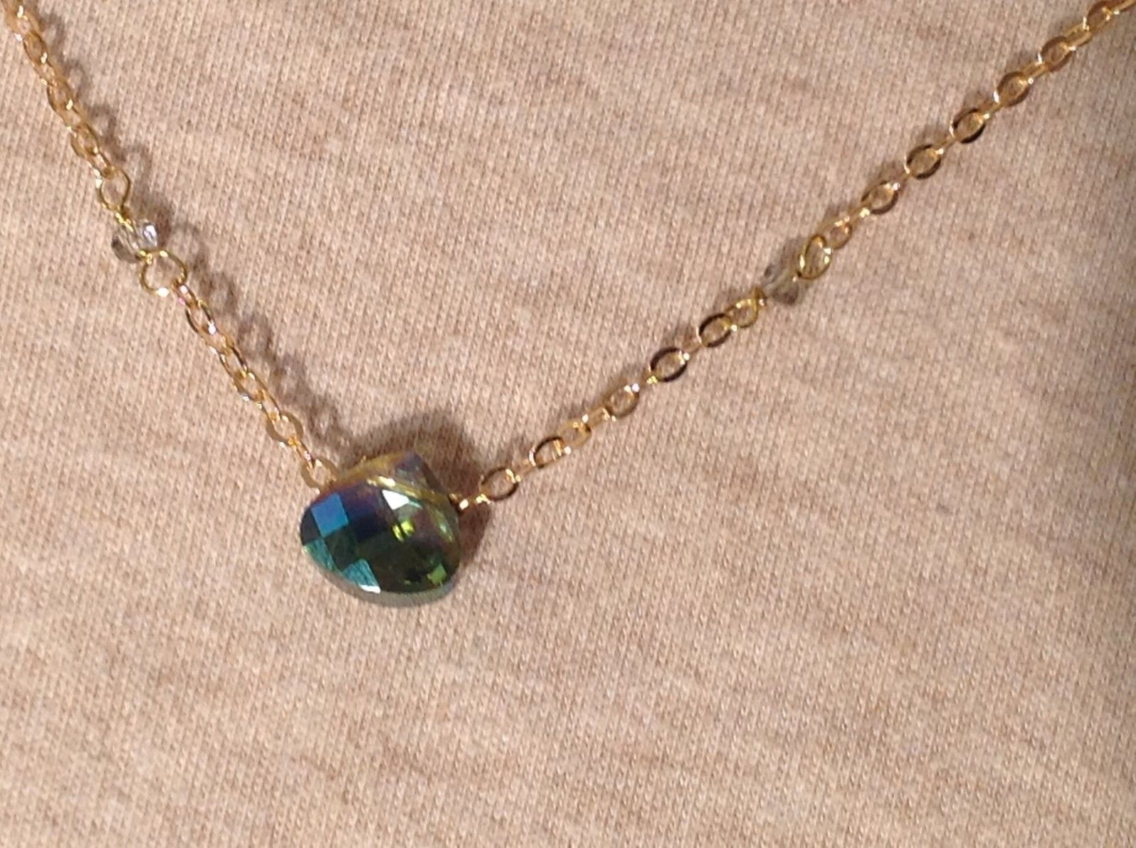 "Caribbean aqua blue Elly Preston Faceted Thai Crystal Pendant Necklace 22"" Long"