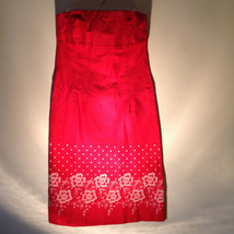 Bright Red Dress with White Flowers stitched on Bottom by Ruth Size 10